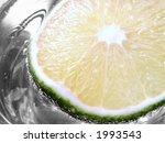 Slice Of Lime In Glass Of Soda...
