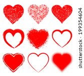 set of hand drawn grunge hearts ... | Shutterstock .eps vector #199354604
