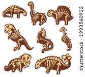 set dinosaur skeleton in... | Shutterstock .eps vector #1993560923