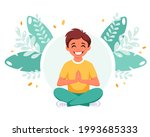 little boy meditating in lotus...   Shutterstock .eps vector #1993685333