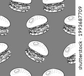 realistic line art  burger ... | Shutterstock .eps vector #1993687709