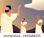 man on pilgrimage to mecca scene | Shutterstock .eps vector #1993688570