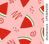 watermelon slices and doodles...   Shutterstock .eps vector #1993696550