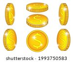 shiny coins. a set of coins...   Shutterstock .eps vector #1993750583