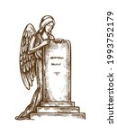 cemetery tombstone with angel... | Shutterstock .eps vector #1993752179