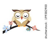 cartoon owl on a flowering tree ... | Shutterstock .eps vector #199382900