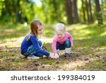 two little sisters gathering... | Shutterstock . vector #199384019
