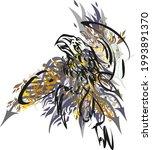 eagle flight on white in grunge ... | Shutterstock .eps vector #1993891370