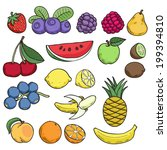 colorful fruits and berries in... | Shutterstock .eps vector #199394810
