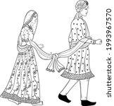 indian wedding groom and bride...   Shutterstock .eps vector #1993967570