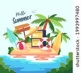 summer time beach concept....   Shutterstock .eps vector #1993997480