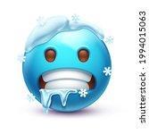 cold emoji. freezing emoticon ... | Shutterstock .eps vector #1994015063