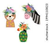 set of isolated floral zebra ... | Shutterstock .eps vector #1994110823