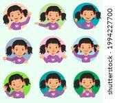 little girl facial expressions... | Shutterstock .eps vector #1994227700