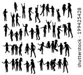 silhouette of jumping people. | Shutterstock .eps vector #199425428