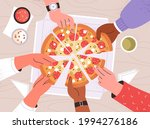 diverse male and female hands... | Shutterstock .eps vector #1994276186