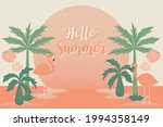 tropical flowers and flamingo... | Shutterstock .eps vector #1994358149