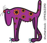 dog with flowers  vector art... | Shutterstock .eps vector #1994363390