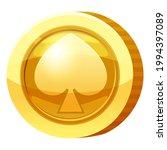 gold medal coin spades symbol....