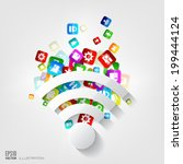 wi fi icon. application button... | Shutterstock .eps vector #199444124