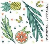 summertime pineapple  orange ... | Shutterstock .eps vector #1994453333