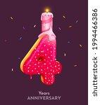birthday cake font number 4...   Shutterstock .eps vector #1994466386