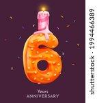 birthday cake font number 6...   Shutterstock .eps vector #1994466389
