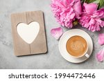 Hot Coffee  Peony Flowers And...