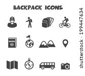 backpack icons  mono vector... | Shutterstock .eps vector #199447634