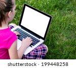 young school girl wearing... | Shutterstock . vector #199448258