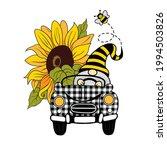 large  bright sunflower  funny ... | Shutterstock .eps vector #1994503826