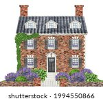 Watercolor Red Brick House...