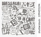 doodle communication background | Shutterstock .eps vector #199455194