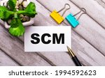 Small photo of On a wooden background, a white card with the text SCM Supply Chain Management, yellow and green paper clips and a plant in a pot. View from above