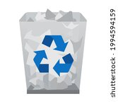 full recycle bin icon. trash...