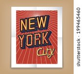 new york city poster with text... | Shutterstock . vector #199465460