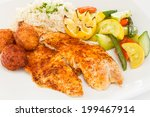 Blackened Fish Served With Ric...