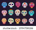 cartoon mexican calavera sugar...   Shutterstock .eps vector #1994708186