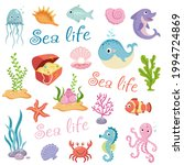 cute sea life creatures cartoon ... | Shutterstock .eps vector #1994724869