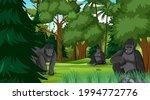 gorilla family in forest or... | Shutterstock .eps vector #1994772776