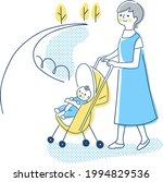 baby and mom taking a walk in a ... | Shutterstock .eps vector #1994829536