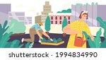 characters greening on rooftop  ... | Shutterstock .eps vector #1994834990