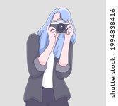 photographer woman cartoon... | Shutterstock .eps vector #1994838416
