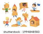 kids making costumes from boxes ...   Shutterstock .eps vector #1994848583