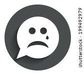 sad face with tear sign icon....