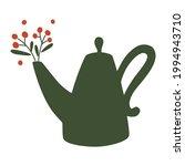 teapot with herbs. vintage tea...   Shutterstock .eps vector #1994943710