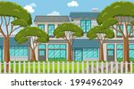 empty scene with some trees on...   Shutterstock .eps vector #1994962049