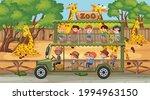 safari scene with many giraffes ...   Shutterstock .eps vector #1994963150
