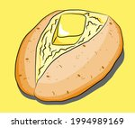 baked jacket potato with... | Shutterstock .eps vector #1994989169