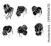 hairstyle bun set of... | Shutterstock .eps vector #1995043670
